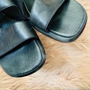 Clarks Shoes - Clark's   Black Leather Slip On Sandal - Size 6